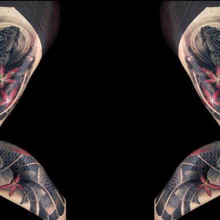 Tatuajes de carpa koi oriental japonés